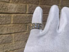 Iced 18K Gold Plated 2 Row Lab Diamond Pinky Ring Size 7