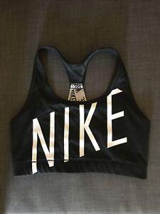 Nike Dri Fit Size M Sports Bra Crop Top Black And White Gym Workout Yoga Active