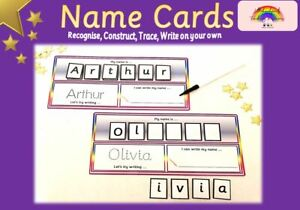 Recognise,Trace, Write, Spell & Construct NAME CARD -Wipe clean +pen