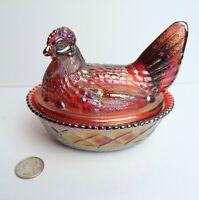 """Vtg 1983 Westmoreland Hen On Nest 5"""" Ruby Red Carnival Glass 336/1000 Split Tail"""