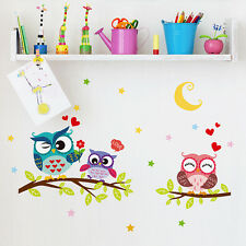 Cartoon Cute Owls Pattern Removable Wall Stickers Vinyl Sticker Home Decoration