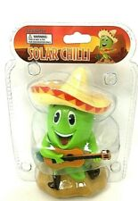 Solar Power Green Hot Chili Pepper Band Dancing Bobble Head Car Auto Toy Mexican