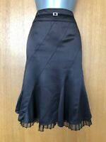 Size 8 Karen Millen Brown Satin Fit & Flare Knee Length Occasion Skirt EU 36