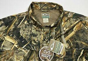 NWT! DRAKE Realtree Max 5 Short Sleeve Vented Camo Hunting Shirt Men's 2XL NEW!