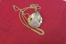 14k diamond pendant / brooch  .86ctw plus 14k chain  15.9 grams