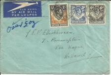 Northern Rhodesia SG#40,#34,#38 KASAMA(Zambia) 20/FEB/48 AIRMAIL to HOLLAND
