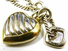David Yurman Heart Pendant Figaro Chain Necklace 18K Gold & Sterling Silver 16""