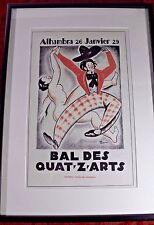 BAL DES QUAT-Z-ARTS Poster Print R. CAMI Nude DANCER Paris  20 X 14  Prof Framed