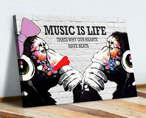 MONKEY DJ BANKSY MUSIC IS LIFE CANVAS STREET WALL ART PRINT ARTWORK GORILLA