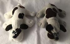 "Vintage 1985 White/Brown & Gray/Brown Pound Puppies Plush - Stuffed Animal 8"""