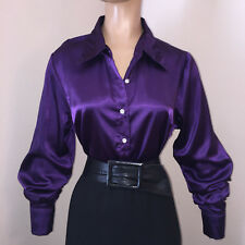 LIQUID SATIN BLOUSE Shiny M L XL Button/French Cuff Link NEW Vtg Stretch Spandex