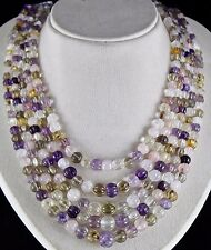 CLASSIC OLD 5 LINE MULTI NATURAL SEMI - PRECIOUS CARVED MELON BEADS NECKLACE