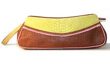 Claudia Firenze croc embossed leather clutch handbag wrist bag - Italy