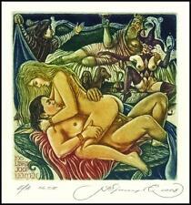 Kirnitskiy Sergey 2008 Exlibris C4 Erotic Erotik Nude Nudo Woman Sex Dog 171
