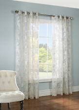 """Two (2) Chablis Floral Linen Burnout Sheer Curtains, 52"""" wide by 84"""" long, Ivory"""