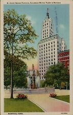 Court Square Fountain Columbian Mutual Tower in Distance Memphis TN Postcard C4