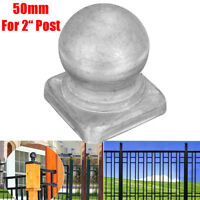 """50mm Silver Metal Round Ball Fence Finial Post Cap Protect for 2"""" Square Posts"""