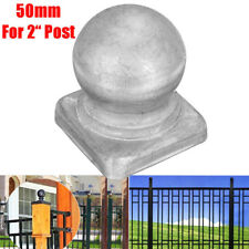 "50mm Silver Metal Round Ball Fence Finial Post Cap Protect for 2"" Square Posts"