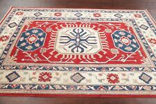 Geometric RED Super Kazak Oriental Area Rug Hand-Knotted Bedroom Wool Carpet 5x7