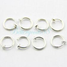 8x 13mm Spring Hoops Comfy Silver CLIP ON Lip Nose Fake Upper Ear Ring JW156 HM