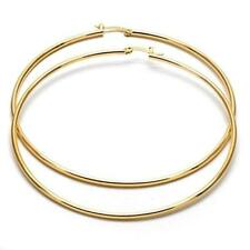Extra Large Real Gold Plated Round Hoop Earrings 14k Gold layered (70mm x 2mm)