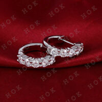 1.00 Ct Round Cut Diamond Small Hoop Earrings For Women's 14k White Gold Finish
