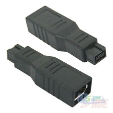Firewire 1394 9 Pin Male to 6 Pin Female 800-400 Power Adapter Connector Black