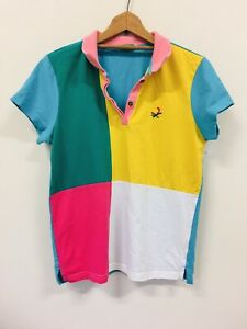 UNITED COLORS OF BENETTON Coloured Polo Tee 100% Cotton Ladies Size M Vintage