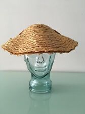 Vintage 50's Natural straw hat with velvet bow