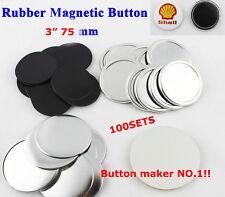 "100Set 3"" 75mm Rubber Magnet Badge Button Parts Supplies for Button Maker DIY"