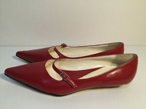 Pierre Fontaine Size 7 Women's Red Sharp Pointed Super Flat Shoe (Now Trending)