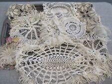 Vintage Lot 12 Doilies Lace Crochet Ivory Ecru Multicolor Table Linens