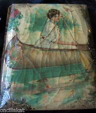 Vintage Edwardian GIBSON GIRL in CANOE Celluloid Velvet Photo Album