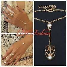 USA Gold Big Crystal Ring Adjustable Bracelet for Women Wrist Chain Jewelry