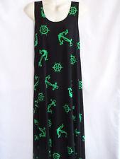 JOSTAR  LONG TANK TRAVEL KNIT  DRESS          SM(B)   BLACK/GREEN  ANCHORS