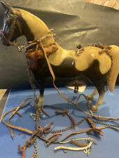 """VINTAGE TOY HORSE 10.5"""" BROWN/WHITE PLASTIC W/LEATHER & CHAIN ACCESSORIES"""