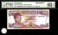 Swaziland 10 Emalangeni SPECIMEN 1997 PMG 65 EPQ UNC Pick # 25s2 S/N AG000000