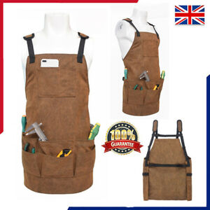 Waterproof Leather Waxed Canvas Apron for Woodworking Bartender Barista Waiter
