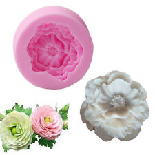 FDA Silicone 3D Peony Flower Fondant Mold Sugarcraft Cake Soap Candle Mould New