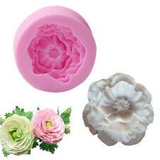 FDA Silicone 3D Peony Flower Fondant Mold Sugarcraft Cake Soap Candle Mould New