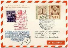 1959 Ballonpost n. 22 Pro Juventute Aerostato Zellerndorf Tag Der Fahne Wien 101