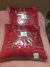 (2) St Nicholas Square Reindeer Pillows-Christmas-Msrp $35 Each-Free Ship-New