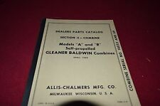Allis Chalmers Gleaner A And R Combine Parts Book HMPA