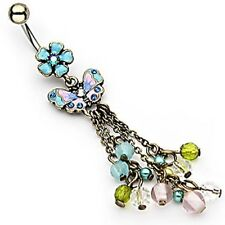 VINTAGE FLOWER BELLY NAVEL RING BUTTERFLY DANGLE BUTTON PIERCING JEWELRY B444