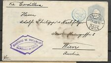 Chile Old Postal Stationery Cover Sent to Wien Austria Maritime  Ligne J 1896