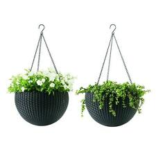 2 Pack Brown Resin Hanging Rattan Planter Plant Pot Home Garden Indoor Outdoor