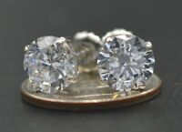 2.5ct Created Diamond Basket Stud Earrings 14K Solid White Gold ScrewBack  (JM16