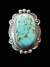 Turquoise and Sterling Ring withStampwork and Heavy Dots - Navajo Handmade