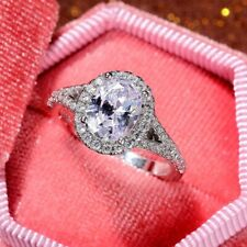 2.75 TCW Oval Cut DVVS1 Moissanite Engagement ring in 14K White Gold Plated