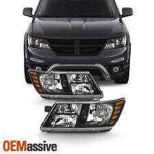 Fits 2009-2019 Dodge Journey w/ Black Trim Headlight Driver+Passenger Side Pair (Fits: Dodge)